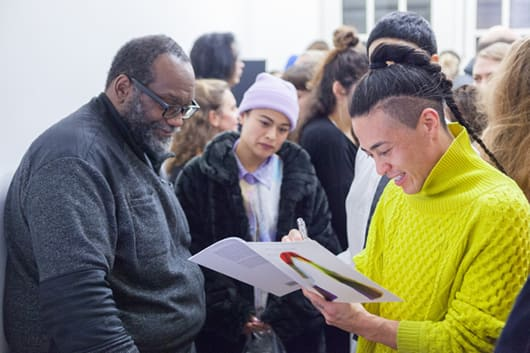 Fred Moten and Wu Tsang, 'Who Touched Me?', book launch, presentation and conversation, presented as part of If I Can't Dance's Finale for Edition VI – Event and Duration (2015–2016), San Serriffe, Amsterdam. Photo: Florian Braakman.